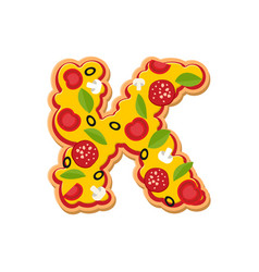 Letter k pizza font italian meal alphabet vector