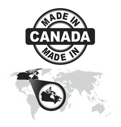 Made in canada stamp world map with zoom on vector