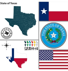 Map of Texas with seal vector image