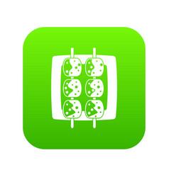 Meat shashlik icon digital green vector