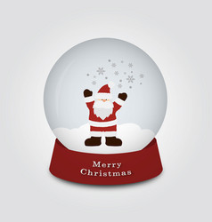 merry christmas snow globe with santa claus and vector image
