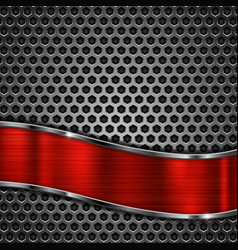 Metal perforated background with red metal shiny vector