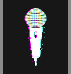 microphone glitch effect isolated single vector image