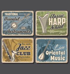 music instruments retro posters jazz festival vector image