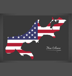 new orleans louisiana map with american national vector image