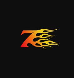 Number 7 burning flame logo design template vector
