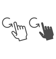 One finger rotate line and glyph icon swipe vector