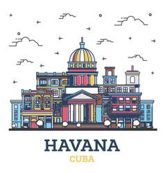 Outline havana cuba city skyline with colored vector