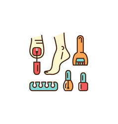 Pedicure icon well-groomed feet painted nails vector