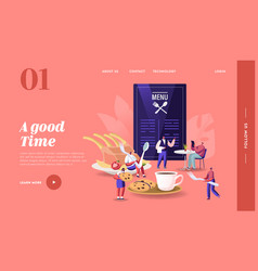 people visiting cafe landing page template tiny vector image