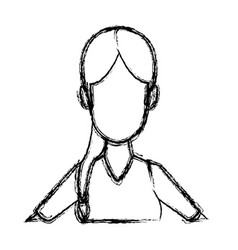 Portrait woman young cartoon faceless people vector