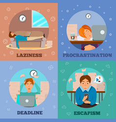 procrastination characters cartoon concept icons vector image