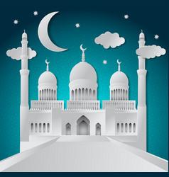 ramadan kareem greeting card with paper cut vector image