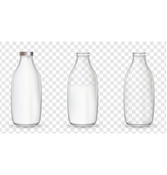 realistic glass bottles with a milk vector image