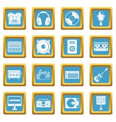 Recording studio items icons azure vector