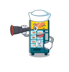Sailor with binocular bakery vending machine in a vector