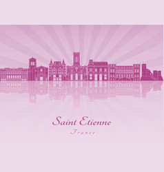 saint etienne skyline in purple radiant orchid vector image