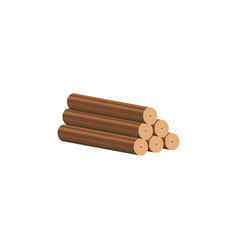 sawn tree trunks a wooden building material flat vector image