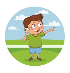 schoolboy cute cartoon vector image