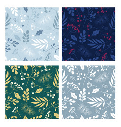 seamless pattern set with branches leaves vector image