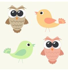 Set adorable owls and cute birds vector