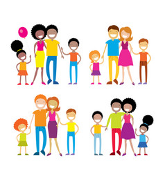set of 4 portraits of lovely cartoon family vector image