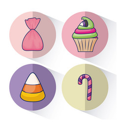 set of delicious sweet cupcake and candies vector image