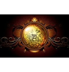 shield ancient with lion vector image