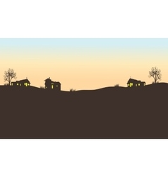 Silhouette of house in field vector image