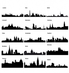 silhouettes of European cities vector image