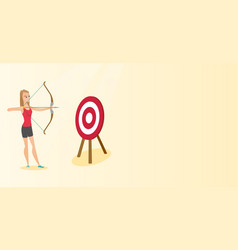 Sportswoman aiming with a bow and arrow at target vector