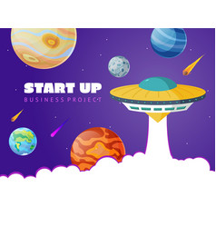 start up concept space background with ufo and vector image