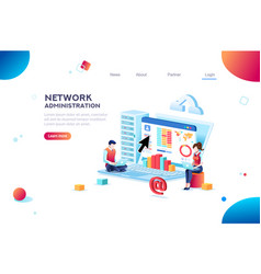support and admin website banner vector image