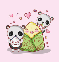 Sushi and pandas kawaii vector