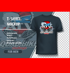 T-shirt mock-up template with quad bike challenge vector