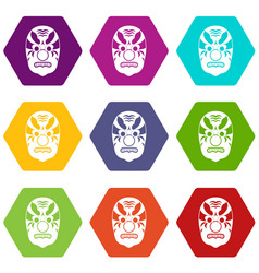 tribal mask icon set color hexahedron vector image