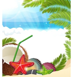 Tropical background with palm trees and coconut vector image