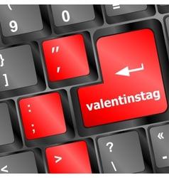 valentine message on keyboard enter key vector image