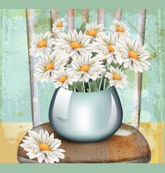 Vintage chamomile bouquet spring floral vector