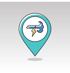 Wind Lightning pin map icon Meteorology Weather vector image