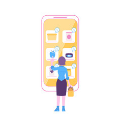 woman stands near huge smartphone pointing to food vector image