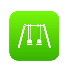 wooden swings hanging on ropes icon digital green vector image