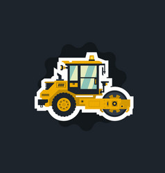 Yellow asphalt compactor the object circled white vector