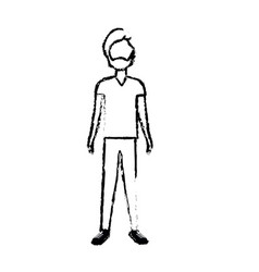 Figure handsome man with beard and casual wear vector