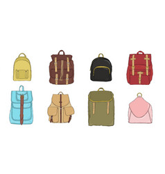 hand drawn colorful realistic backpack set vector image vector image