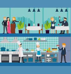 restaurant interior horizontal banners vector image vector image