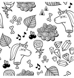 seamless pattern with dead unicorn for coloring vector image vector image