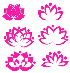 Set of lotus flowers vector image vector image