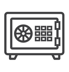 strongbox line icon bank safe and security vector image vector image