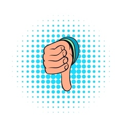 Thumb down gesture icon comics style vector image
